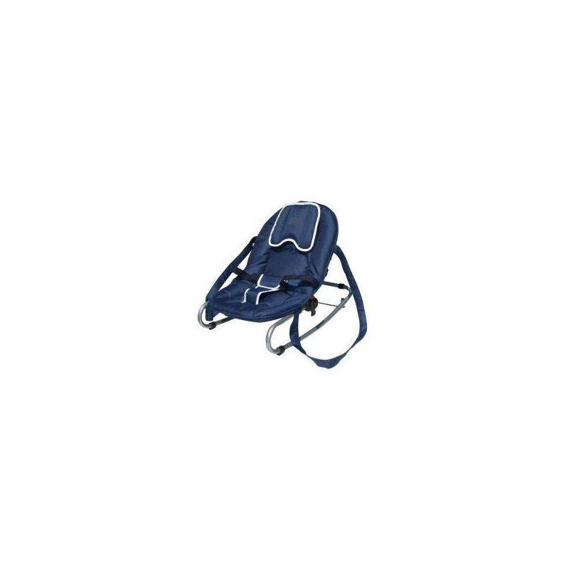 Transat bleu avec dossier et repose pied inclinable