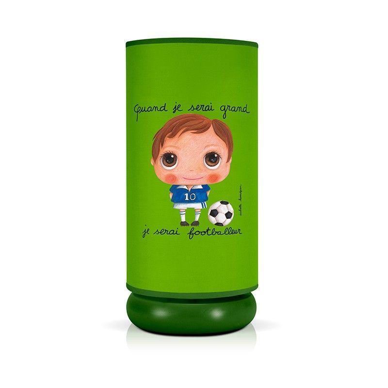 """5- lampe de chevet pour chambre de garcon """"Quand je serai grand, je serai footballer"""""""