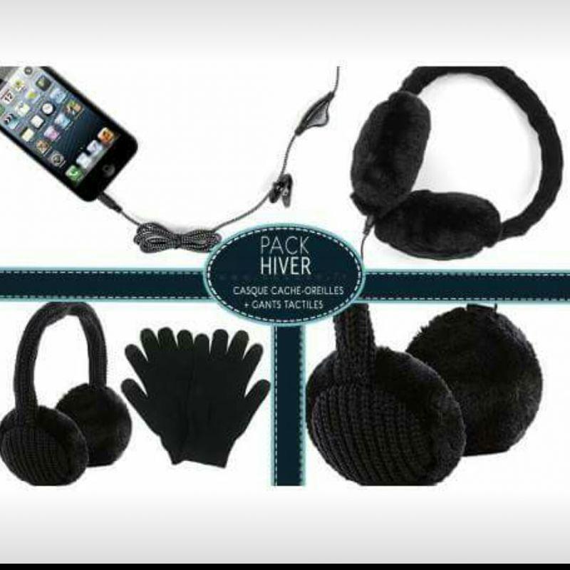 pack hiver -  gants tactiles casque cache oreilles