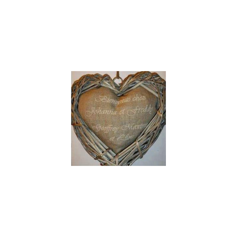 Couronne de porte personnalisé en forme de coeur