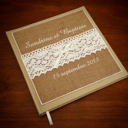 livre d'or personnalisé pour un mariage thème champêtre, avec vos prénoms brodés (thème et couleur au choix)