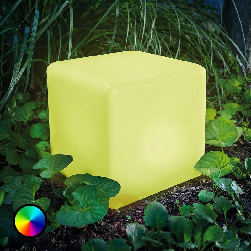 Lampe à poser / pouf de jardin / Cube Lumineux 16 couleurs LED Extérieur 40 cm Sans Fil