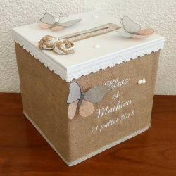 Tirelire cubique personnalisée pour votre mariage thème champêtre avec vos prénoms et la date de votre mariage