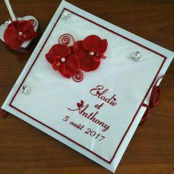 livre d'or personnalisé pour un mariage avec orchidées, avec vos prénoms brodés (thème et couleur au choix)