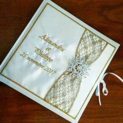 livre d'or personnalisé avec vos prénoms brodés (thème et couleur au choix)